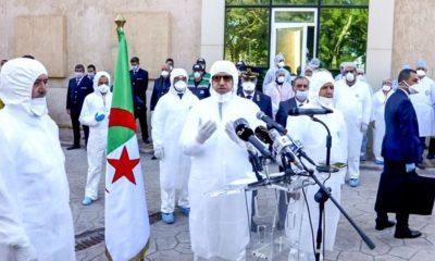 Abdelaziz Djerad à l'hôpital de Blida