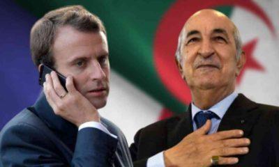 Le Président Tebboune reçoit une communication téléphonique de Macron