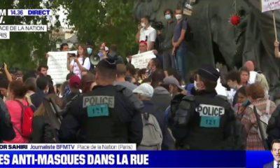 France : des militants anti-masque manifestent à Paris